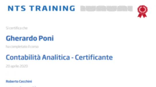 Certificazione Contabilità Analitica