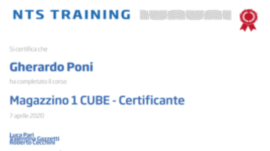 Certificazione Magazzino 1 Cube