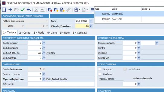 Inserire informazioni aggiuntive nella ricerca veloce di clienti e fornitori